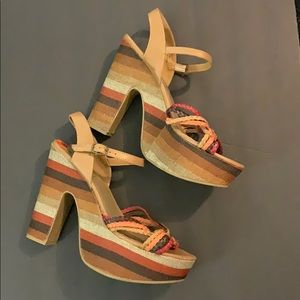 NWOT Madden Girl Multicolored Boho Wedges Sz 9.5